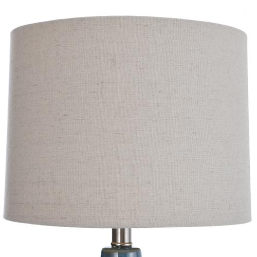 Accent Turquoise Ceramic Table Lamp with Natural Linen Hardback Shade