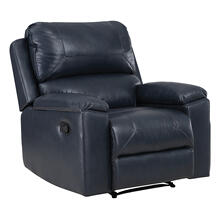 See Details - Santiago Recliner With Dark Navy Faux Leather