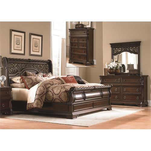 King Sleigh Bed, Dresser & Mirror, Chest