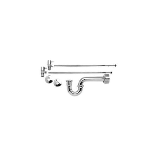 "Lavatory Supply Kit w/ 1-1/4"" P-Trap - Angle - Contemporary Lever Handle - (5/8"" O.D.) 1/2"" Compression Inlet x 3/8"" O.D. Compression Outlet - Oil Rubbed Bronze"