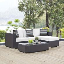 Convene 3 Piece Outdoor Patio Sofa Set in Espresso White