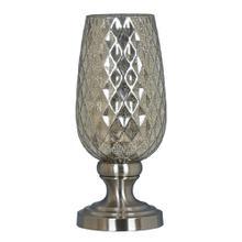 Brushed Nickel Metal base with mercury glass uplight.