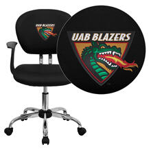 Alabama at Birmingham Blazers Embroidered Black Mesh Task Chair with Arms and Chrome Base