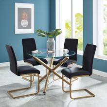 Carmilla/Savion 5pc Dining Set, Gold/Black