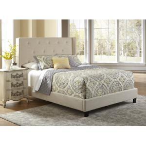 Shelter-Winged, Tufted Queen Upholstered Bed in Neutral Beige