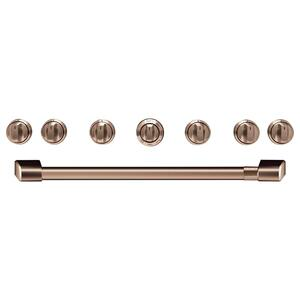 "Cafe Appliances36"" Brushed Copper Handle & Knob Set for Pro Range and Rangetop"