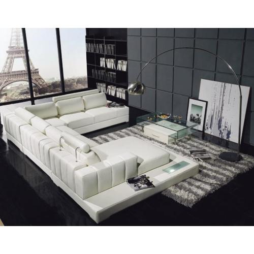 Divani Casa T63 - Modern Leather Sectional Sofa With Light