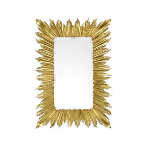 Gilded rectangular sunburst mirror