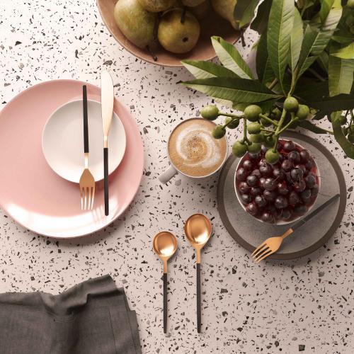 Tov Furniture - Stainless Steel Rose Gold/Black 20 pc Flatware Set