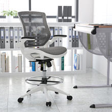 See Details - Mid-Back Transparent Gray Mesh Drafting Chair with White Frame and Flip-Up Arms