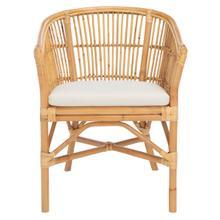 Olivia Rattan Accent Chair W/ Cushion - Natural / White