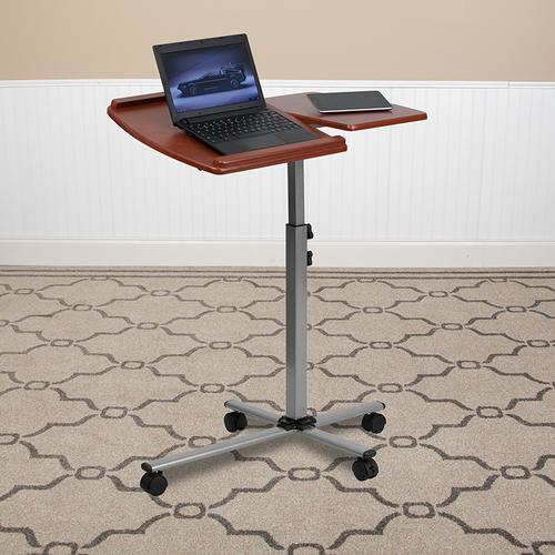Flash Furniture - Angle and Height Adjustable Mobile Laptop Computer Table with Cherry Top