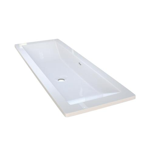 Rossendale 107 Rectangular 41-7/8 Inch Undermount or Drop-in Lavatory Sink in Volcanic Limestone™ with Internal Overflow - Gloss White