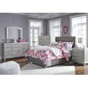 Queen Upholstered Bed With Mirrored Dresser, Chest and Nightstand