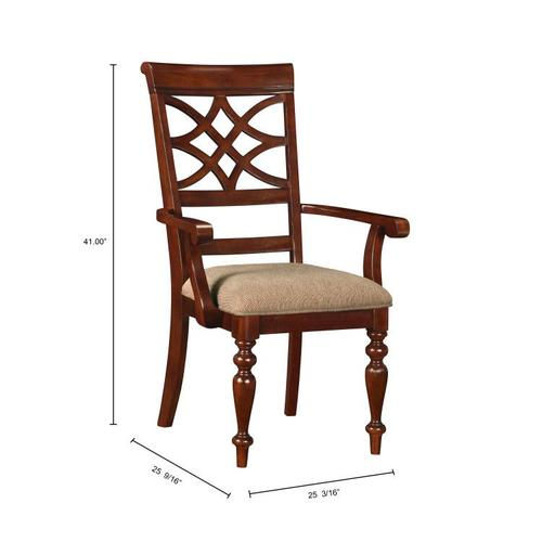 Standard Furniture - Woodmont 2-Pack Arm Chair with Upholstered Seat, Brown Cherry