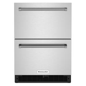 """24"""" Stainless Steel Undercounter Double-Drawer Refrigerator - Black Cabinet/Stainless Doors"""
