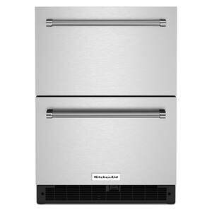 """KitchenAid24"""" Stainless Steel Undercounter Double-Drawer Refrigerator - Black Cabinet/Stainless Doors"""