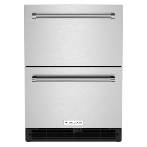 """KitchenAid - 24"""" Stainless Steel Undercounter Double-Drawer Refrigerator - Black Cabinet/Stainless Doors"""