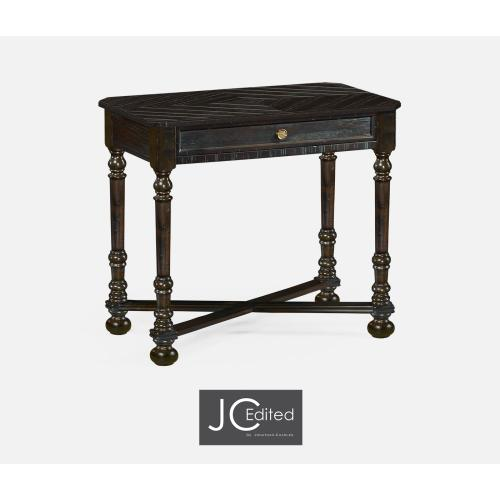 Dark Ale Parquet Rectangular Side Table with Contrast Inlay