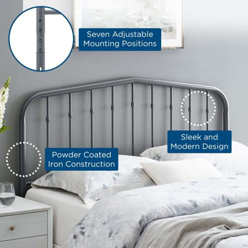 Lennon Queen Metal Headboard in Gray