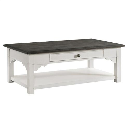 Grand Haven - Large Coffee Table - Feathered White/rich Charcoal Finish