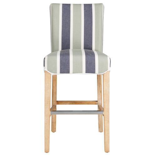 Milton Fabric Counter Stool NWO Legs, Hurley Stripe Blue