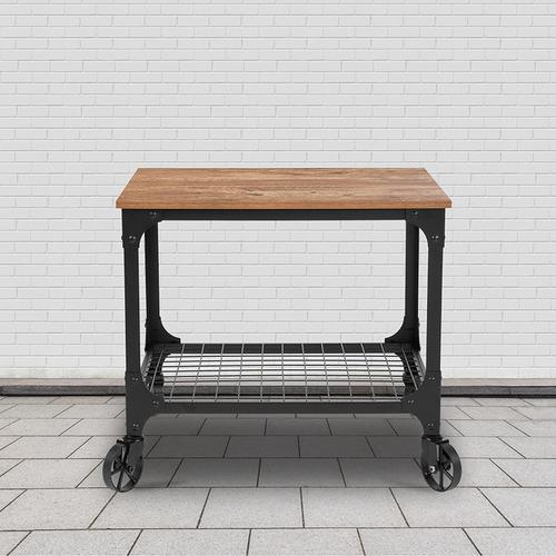 Flash Furniture - Grant Park Rustic Wood Grain and Industrial Iron Kitchen Serving and Bar Cart