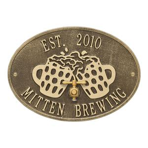 Beers and Cheers Personalized Plaque - Antique Brass Product Image