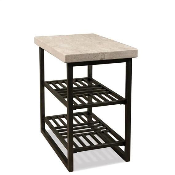 Riverside - Capri - Chairside Table - Alabaster Travertine Finish