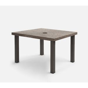 """42"""" Square Dining Table (with Hole) Ht: 27.25"""" Post Aluminum Base (Model # Includes Both Top & Base)"""