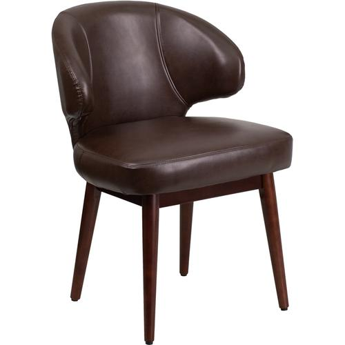 Gallery - Comfort Back Series Brown LeatherSoft Side Reception Chair with Walnut Legs