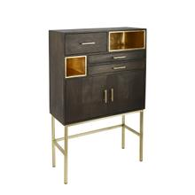 """Product Image - Wood 60"""" 3 Drawer, 2 Door Cabinet On Stand, Black"""