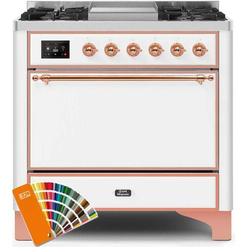 Ilve - Majestic II 36 Inch Dual Fuel Natural Gas Freestanding Range in Custom RAL Color with Copper Trim