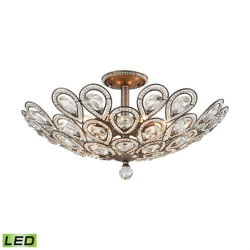 Evolve 8-Light Semi Flush in Weathered Zinc with Clear Crystal - Includes LED Bulbs