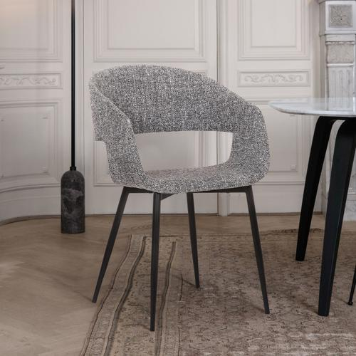 Jocelyn Mid-Century Grey Dining Accent Chair with Black Metal Legs