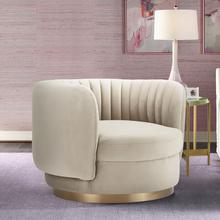 See Details - Davy Taupe Velvet Swivel Accent Chair with Gold Base