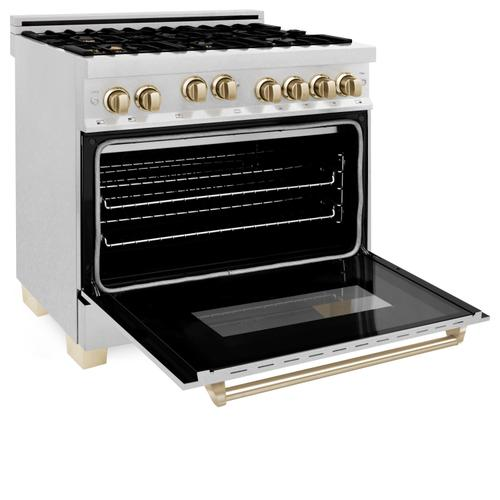 """Zline Kitchen and Bath - ZLINE Autograph Edition 36"""" 4.6 cu. ft. Range with Gas Stove and Gas Oven in DuraSnow® Stainless Steel with Accents (RGSZ-SN-36) [Color: Gold]"""