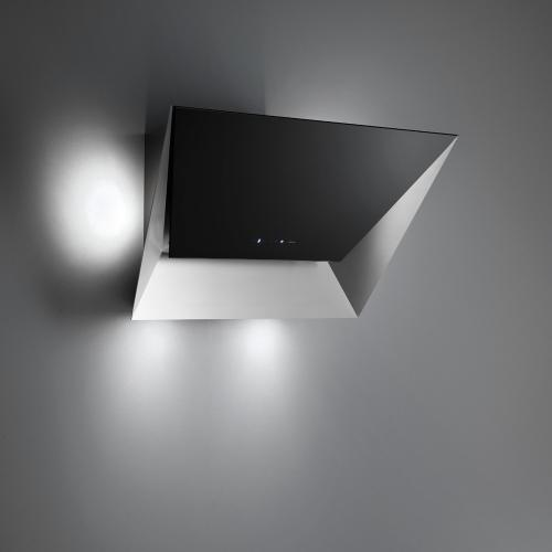 """Wall 36""""/85 cm - 500CFM - Stainless and Black Glass Hood"""