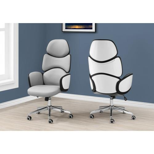 OFFICE CHAIR - GREY LEATHER-LOOK / HIGH BACK EXECUTIVE