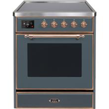 Majestic II 30 Inch Electric Freestanding Range in Blue Grey with Copper Trim