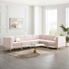 Triumph Channel Tufted Performance Velvet 6-Piece Sectional Sofa in Pink