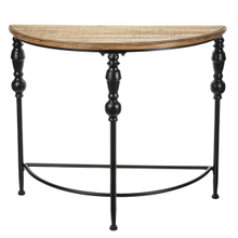See Details - Black Spindle Leg Half Circle Console Table