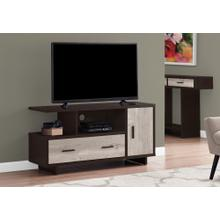 """TV STAND - 48""""L / ESPRESSO / TAUPE RECLAIMED WOOD-LOOK"""