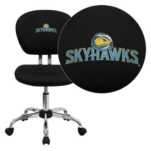 Fort Lewis College Skyhawks Embroidered Black Mesh Task Chair with Chrome Base