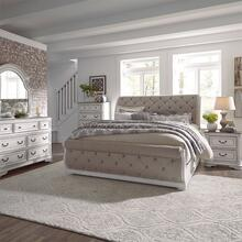 King California Upholstered Sleigh Bed, Dresser & Mirror, Chest, N/S