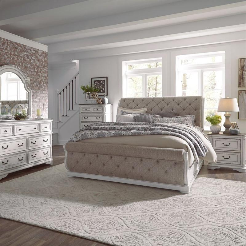 King California Upholstered Sleigh Bed, Dresser & Mirror, Chest, Night Stand