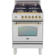 Product Image - Nostalgie 24 Inch Gas Liquid Propane Freestanding Range in Stainless Steel with Brass Trim