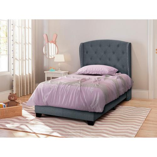 Accentrics Home - Twin Tufted Wing Bed in Charcoal