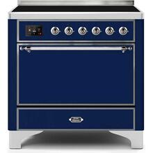 Majestic II 36 Inch Electric Freestanding Range in Blue with Chrome Trim