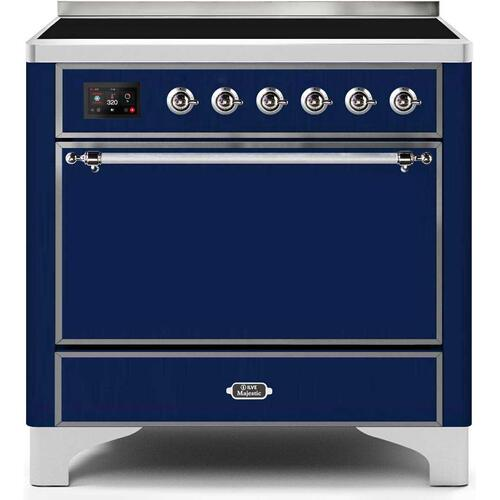 Ilve - Majestic II 36 Inch Electric Freestanding Range in Blue with Chrome Trim